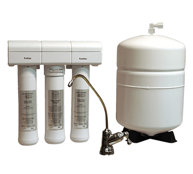 The ERO 175 Reverse Osmosis water filtration system with a silver faucet and white tank