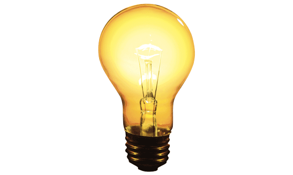 A lit incandescent light bulb