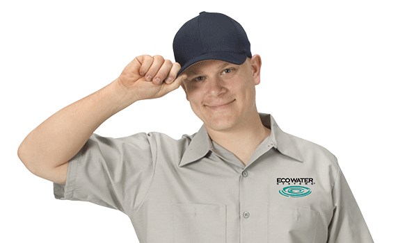 EcoWater maintenance man tipping his black hat