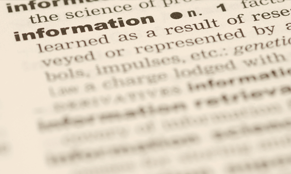 "The word ""information"" and its definition in a page of the dictionary"