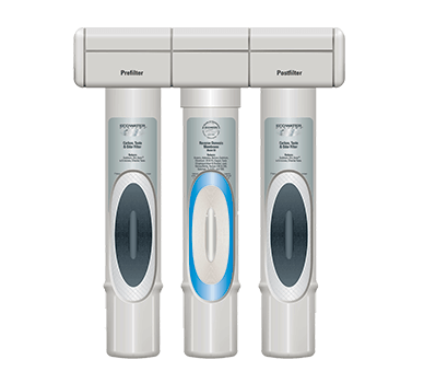 The HERO 375 Reverse Osmosis system with two filters and a membrane