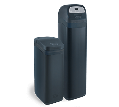 Two black water softener tanks called the ESD2752 Series