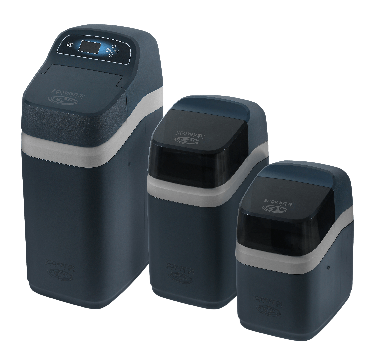 Three black Compact Series water softening systems
