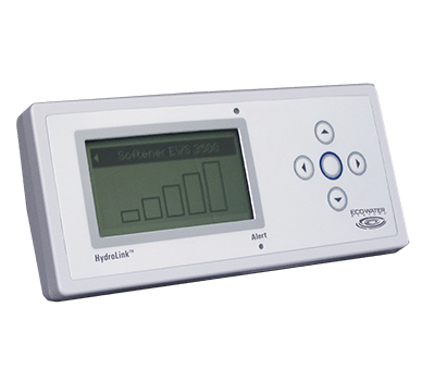 A white HydroLink remote displaying levels for an EWS 3500 water softener