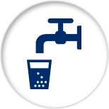 Blue icon of a water faucet and a glass filled with a blue substance with white circles in it