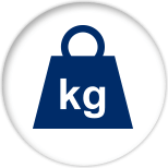 "Blue iron weight with the letters ""kg"" in the middle"