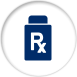 "Blue icon of a pill jar with the letters ""Rx"" on it"