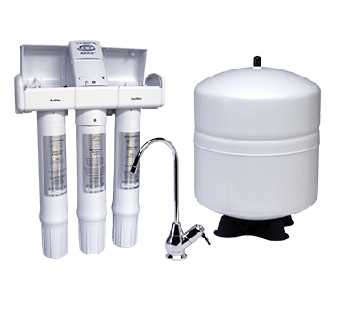 The HERO-375Plus Reverse Osmosis Drinking Water System set with filters, tank and faucet