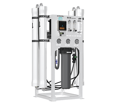 The ECO Series Reverse Osmosis System with two filters and a membrane
