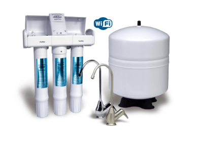 A WiFi enabled Reverse Osmosis water filtration system with three filters, two faucets and a tank.